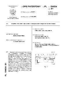 Urządzenie do badania odporności na korozję naprężeniową materiałów metalicznych : opis patentowy nr 194834