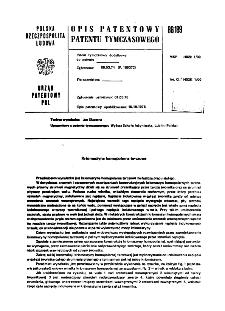 Kriomaszyna homopolarna tarczowa : opis patentowy patentu tymczasowego nr 86189
