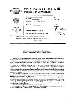Układ samoczynnej regulacji współczynnika mocy w sieciach elektroenergetycznych niskiego napięcia : opis patentowy patentu tymczasowego nr 97137