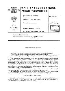 Bezodrzutowa broń myśliwska : opis patentowy patentu tymczasowego nr 97255