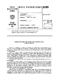 Urządzenie do badania klatki wirnika maszyny asynchronicznej, w stanie statycznym : opis patentowy nr 97523