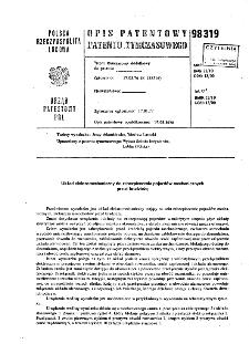 Układ elektromechaniczny do zabezpieczenia pojazdów mechanicznych przed kradzieżą : opis patentowy patentu tymczasowego nr 98319