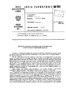Magnetyczny powielacz częstotliwości typu transformatorowego transformatorowego : opis patentowy nr 98763
