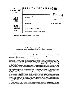 Układ regulacji napięcia wyjściowego w magnetycznym potrajaczu częstotliwości typu transformatorowego : opis patentowy nr 98811