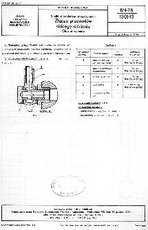 Silniki z zapłonem samoczynnym - Złącza przewodów niskiego ciśnienia - Główne wymiary BN-78/1301-03