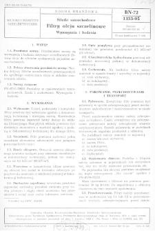 Silniki samochodowe - Filtry oleju szczelinowe - Wymagania i badania BN-72/1353-05