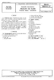 Budynki inwentarskie - Budynki dla bydła - Podział, nazwy i określenia BN-81/8800-01.01