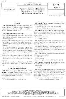 Papier i karton okładkowe broszurowe oraz papier okładkowy zeszytowy BN-71/7326-14