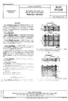 Budownictwo hydrotechniczne - Elementy budowli regulacyjnych - Materace taśmowe BN-69/8952-28