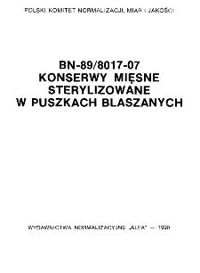 Konserwy mięsne sterylizowane w puszkach blaszanych BN-89/8017-07