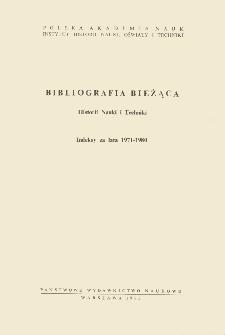 Bibliografia bieżąca Historii Nauki i Techniki : indeksy za lata 1971-1980