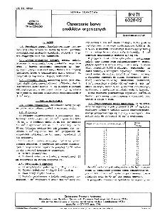 Oznaczanie barwy produktów organicznych BN-71/6020-02