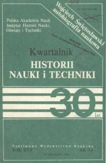 Kwartalnik Historii Nauki i Techniki R. 30 nr 3-4/1985