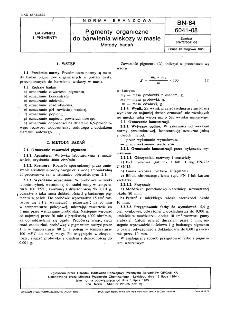 Pigmenty organiczne do barwienia wiskozy w masie - Metody badań BN-84/6041-08