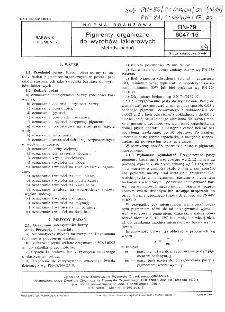 Pigmenty organiczne do wyrobów lakierowych - Metody badań BN-79/6047-15