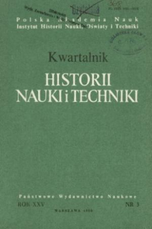 Kwartalnik Historii Nauki i Techniki R. 25 nr 3/1980
