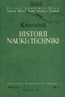 Kwartalnik Historii Nauki i Techniki R. 25 nr 2/1980