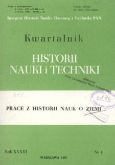 Kwartalnik Historii Nauki i Techniki R. 36 nr 4/1991