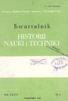 Kwartalnik Historii Nauki i Techniki R. 36 nr 2/1991