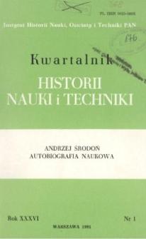 Kwartalnik Historii Nauki i Techniki R. 36 nr 1/1991