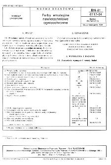 Farby emulsyjne nawierzchniowe ognioochronne BN-81/6117-04