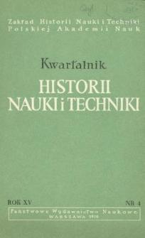 Kwartalnik Historii Nauki i Techniki R. 15 nr 4/1970