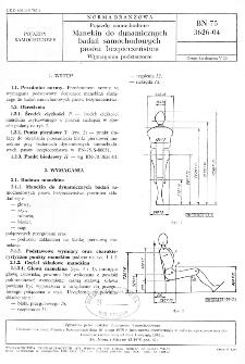 Pojazdy samochodowe - Manekin do dynamicznych badań samochodowych pasów bezpieczeństwa - Wymagania podstawowe BN-75/3626-04