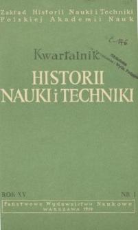 Kwartalnik Historii Nauki i Techniki R. 15 nr 1/1970