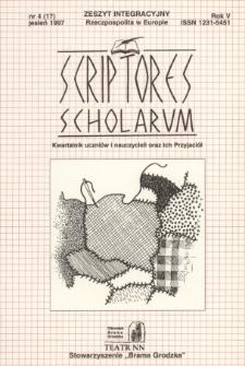 Scriptores Scholarum : kwartalnik uczniów i nauczycieli oraz ich Przyjaciół R. 5, nr 4(17) jesień 1997