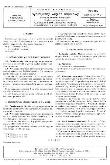 Syntetyczny węglan wapniowy - Metody badań własności fizykochemicznych - Oznaczanie pH zawiesiny wodnej, pozostałości na sicie oraz białości BN-86/6016-05/12