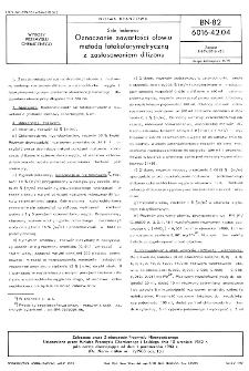 Sole fosforowe - Oznaczanie zawartości ołowiu metodą fotokolorymetryczną z zastosowaniem ditizonu BN-82/6016-42.04