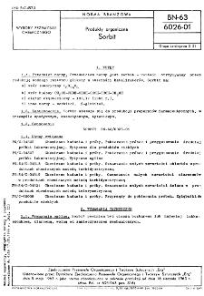 Produkty organiczne - Sorbit BN-63/6026-01