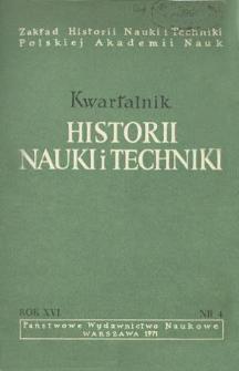Kwartalnik Historii Nauki i Techniki R. 16 nr 4/1971