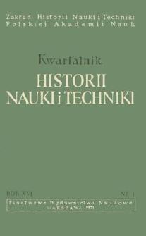 Kwartalnik Historii Nauki i Techniki R. 16 nr 1/1971