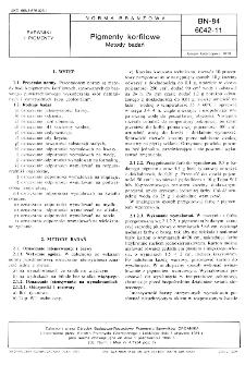 Pigmenty korfilowe - Metody badań BN-84/6042-11