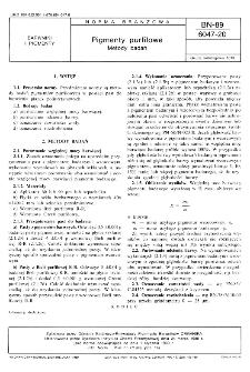 Pigmenty purfilowe - Metody badań BN-89/6047-20