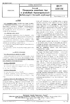 Pestycydy - Oznaczanie zawartości rtęci w produktach rtęcioorganicznych technicznych i formach użytkowych BN-71/6051-08