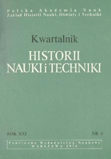 Kwartalnik Historii Nauki i Techniki R. 21 nr 4/1976