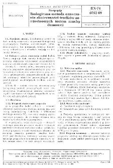 Pestycydy - Biologiczna metoda oznaczania skuteczności środków zawiesionowych testem muchy domowej BN-74/6052-09.