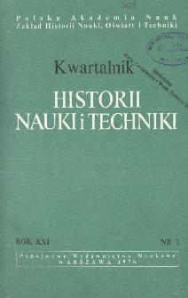 Kwartalnik Historii Nauki i Techniki R. 21 nr 1/1976