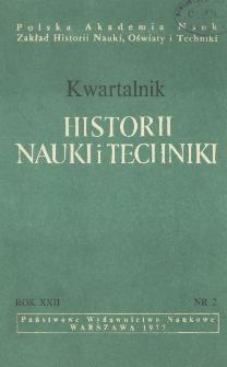 Kwartalnik Historii Nauki i Techniki R. 22 nr 2/1977