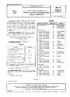 Niewulkanizowane płyty antykorozyjne - Charakterystyka techniczna płyty rodzaju EWA-670 BN-74/6616-15 Arkusz 09