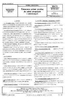Pobieranie próbek gruntów do celów drogowych i lotniskowych BN-75/8931-03