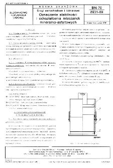 Drogi samochodowe i lotniskowe - Oznaczanie stabilności i odkształcenia mieszanek mineralno-asfaltowych BN-70/8931-09