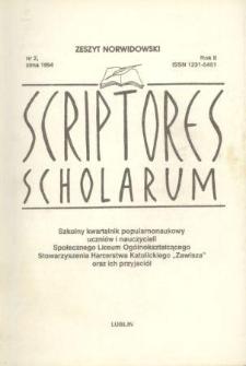 Scriptores Scholarum : kwartalnik uczniów i nauczycieli oraz ich Przyjaciół R. 2, nr 2 zima 1994