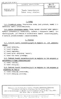 Tunele komunikacyjne - Podział, nazwy i określenia BN-75/8935-05