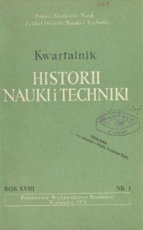 Kwartalnik Historii Nauki i Techniki R. 18 nr 1/1973