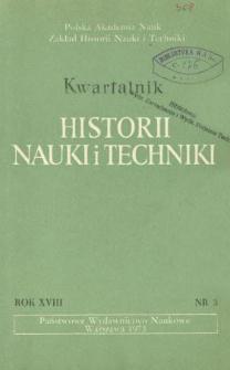 Kwartalnik Historii Nauki i Techniki R. 18 nr 3/1973