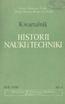 Kwartalnik Historii Nauki i Techniki R. 18 nr 4/1973