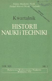 Kwartalnik Historii Nauki i Techniki R. 19 nr 1/1974